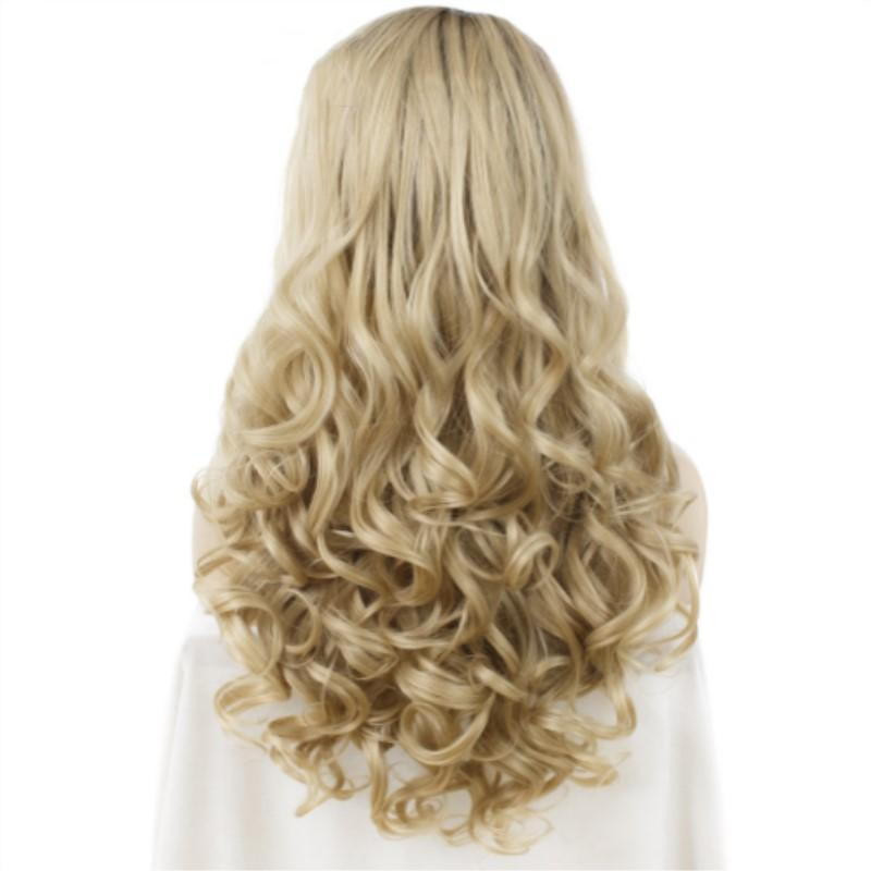 Free Shipping 180% Density Long Wave Dark Root Blonde Ombre Color Heat Resistant Synthetic Fake Hair 24 Inches Lace Front Wigs for Women