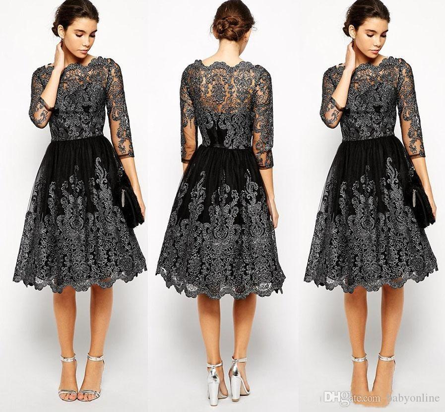 New Short Lace Appliques Mother of Bride Groom Dresses Evening Dress Half Sleeves A Line Bateau High Quality Mother Dresses