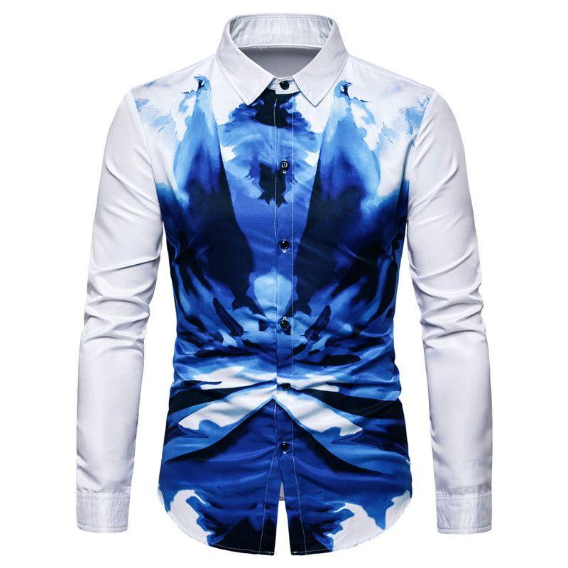 Camicetta da uomo Camicetta da uomo Camicia a maniche lunghe casual Camicia da uomo slim fit stampa camicie Top Chemise Homme 3XL