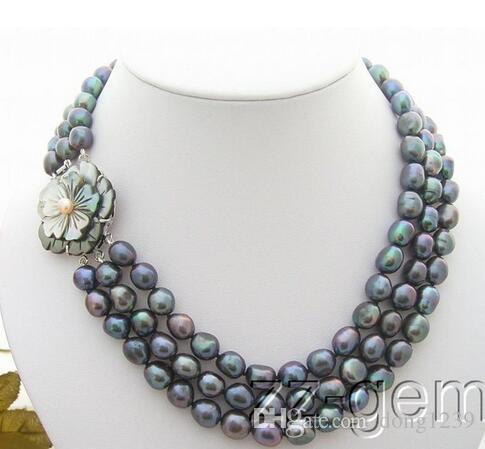 N0903038 3 Strds Барокко черный жемчуг ожерелье-камея брошь