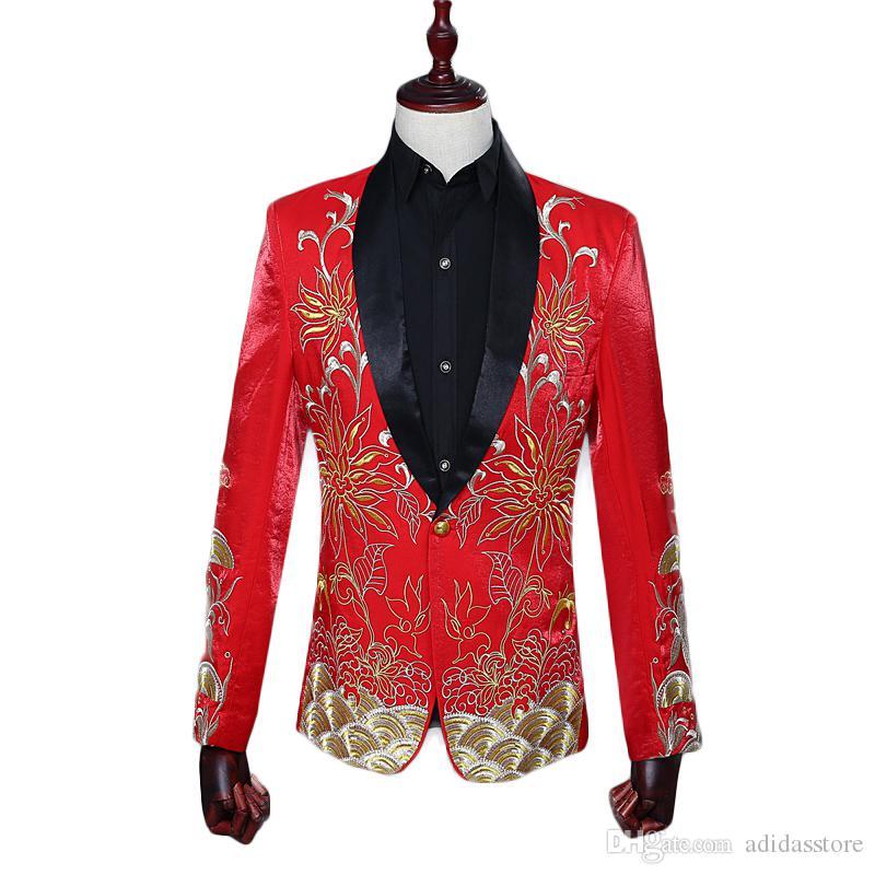 Erkek Slim Fit Suit Nakış Çiçekler Blazer Ceket Gelgit Bar Erkek Düğün Blazers Kırmızı Siyah Mavi 3 Renkler