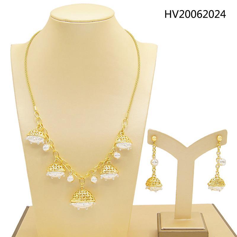 Yulaili 2020 Trendy Brasilien Gold Zwei-Farben-Geometrie-Form-Halsketten-Ohrringe für Frauen-Mode-Partei-Hochzeit Schmuck-Sets