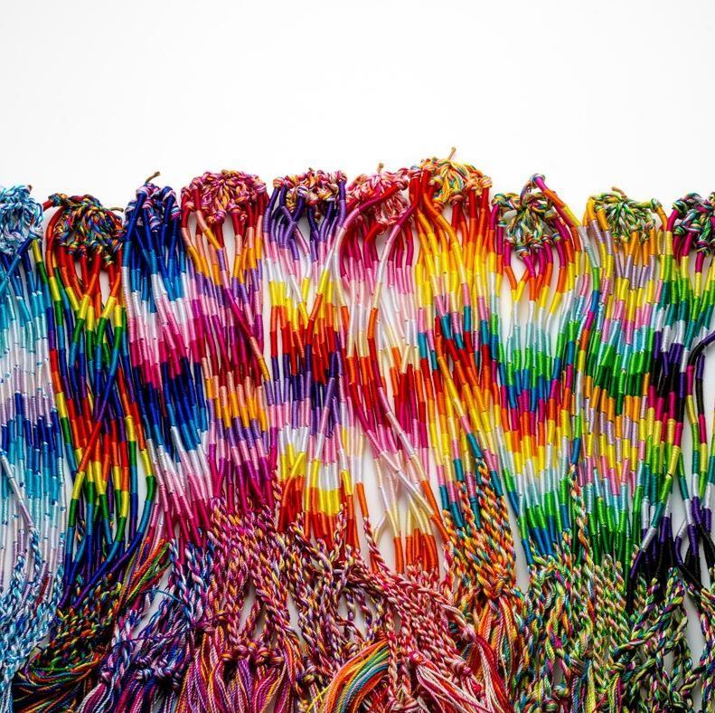 Браслеты девочек красочные фиолетовые бесконечности браслет ручной работы ювелирные изделия мода модный шнур шнур пряди заплетенные дружбы браслеты HQ1