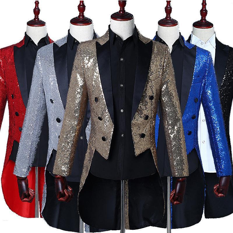 HOO 2019 stage magician sequins tuxedo men dress