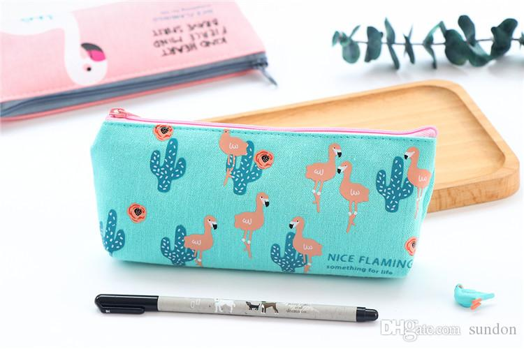Kawaii Cute Creative Flamingo Canvas Pencil Case Storage Organizer Pen Bags Pouch Pencil Bag School Supply Stationery Korean Style