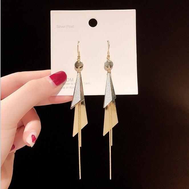 S925 silver needle Korea Dongdaemun pearl tassel earrings female trend temperament earrings personality student earrings wholesale
