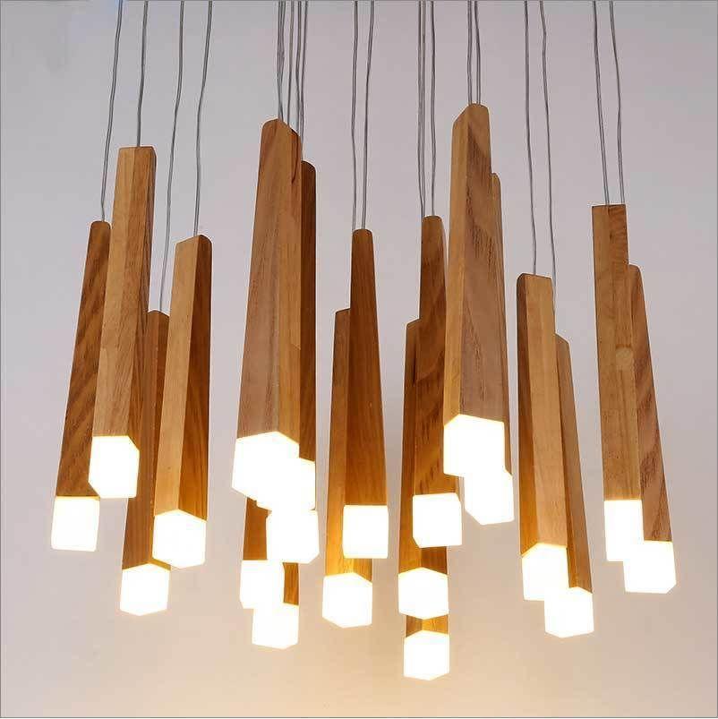 Estilo nórdico palillo de madera Decoración Log Country cocina moderna de madera natural de tubería colgante luces LED Loft Decoración Lámpara colgante