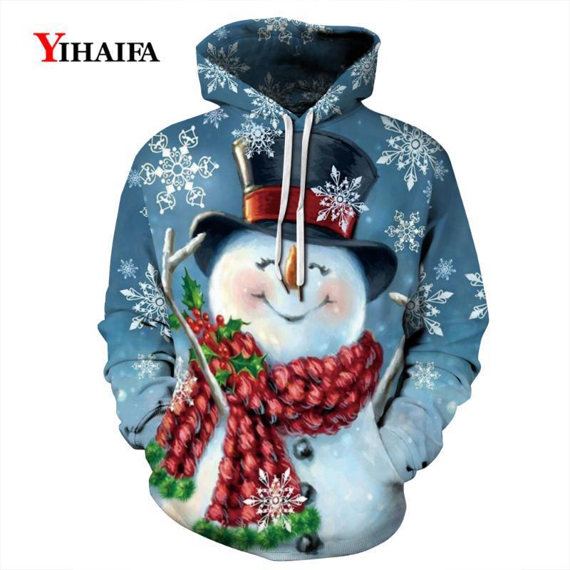 Мужские толстовки для толстовок Мужчины Мужская толстовка 3D стильный снеговик графическая уличная одежда пуловер трексуита пары пальто