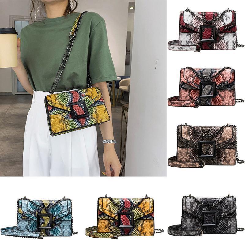 La bolsa de mensajero de la vendimia de la serpiente de impresión de hombro bolsa de Crossbody de las mujeres del hombro impresión de la flor de la playa Bolsa # 50