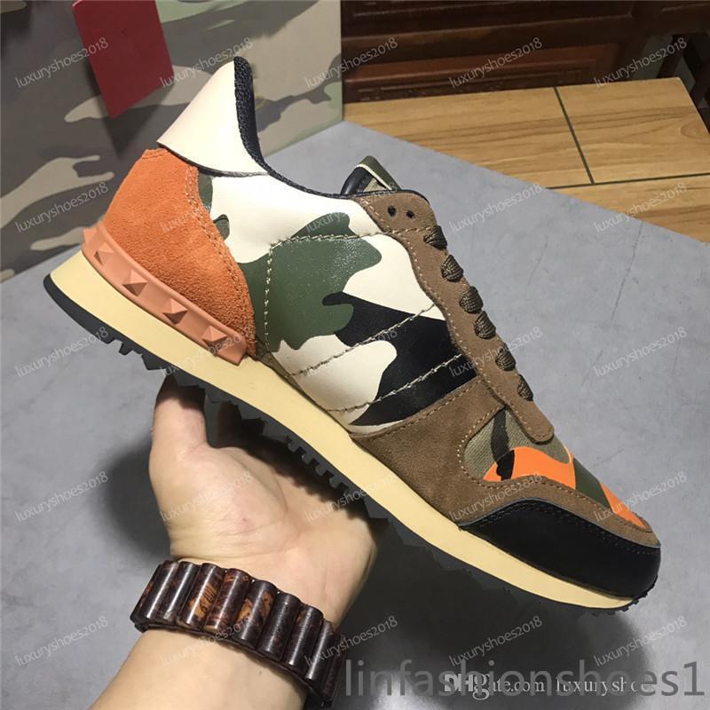 Colore Camo scamosciata borchie camuffamento Roccia corridore della scarpa da tennis scarpe per le donne gli uomini della vite prigioniera di lusso casuale di marca delle scarpe da tennis Chaussures