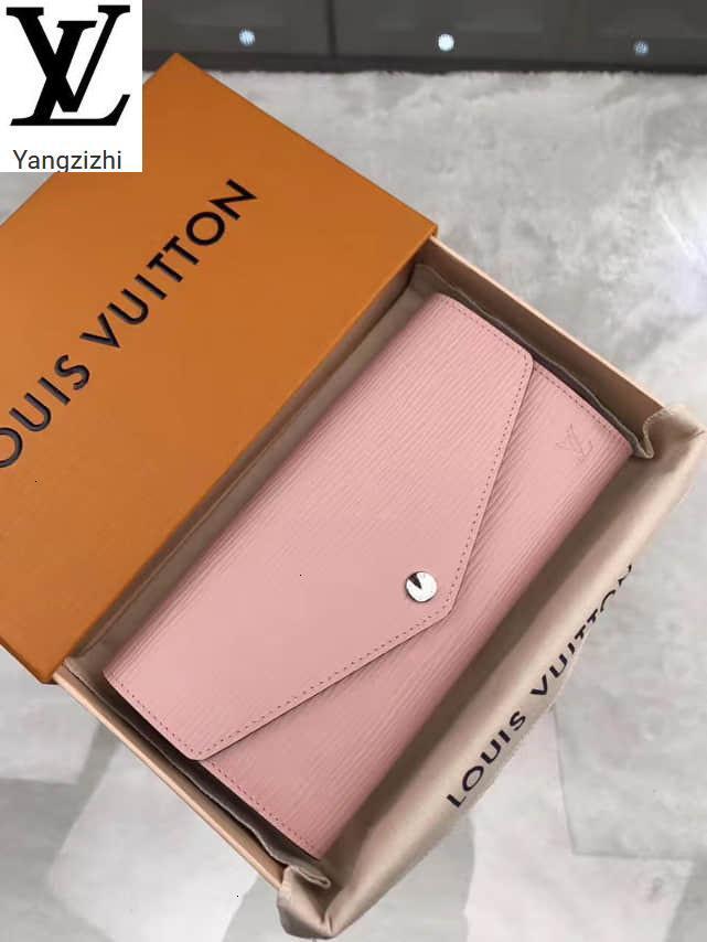 Yangzizhi New Ballet Powder Leather Sarah Envelope Wallet M61216 Long Wallet Chain Wallets Compact Purse Clutches Evening Key