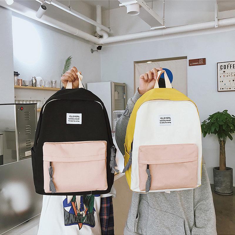 Charismatic2019 muster neue koreanische student beide schultern hit farbe leinwand rucksack mode prägnante wasserdichte paket männer und frauen eine tasche