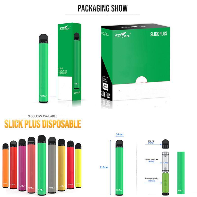 100% auténtico Slick Kangvape Plus desechables Pod Vape Pen 4 ml Cartuchos 700mAh de la batería 1200PUFFS carros vacíos de aceite Plumas E cigarrillos populares