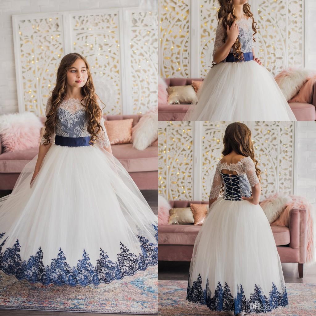 New Elegant Ball Gown Flower Girl Dress Off Shoulder Short Sleeve Tulle Lace Applique Wedding Dress Ankle Length Girl's Birthday Part