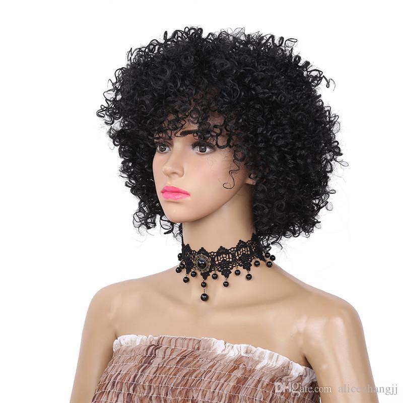 أزياء قصيرة غريب مجعد الأفرو الباروكة اللون الأسود الباروكات الاصطناعية للنساء ألياف مقاومة للحرارة للاستخدام اليومي