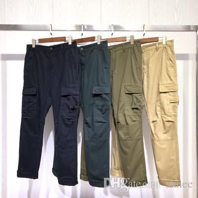 Arazi gündelik erkek çoklu torba pantolon düz gündelik pantsmulti-cep pantolon gevşek olan açık İlkbahar ve sonbahar erkek Ston pantolon