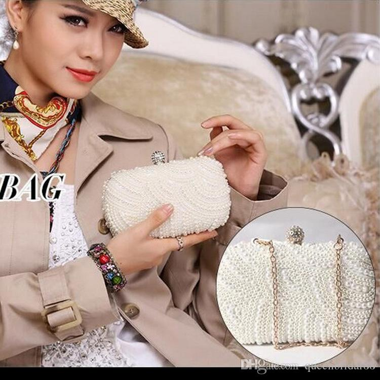 2019 Pearl Hand Bags Water Drill Dinner Chain Small Square Bag Little Girl Bag Skew Bridal Hand Bags Accessories