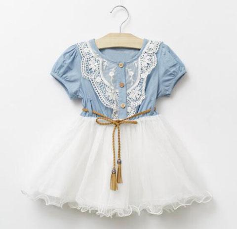 Sommer-Baby-Kleid-Denim-Mädchenkleider 2018 neue Kinder Lace Floral Mädchen Rock-Kurzschluss-Hülsen-Prinzessin-Kleid-Baby-Jeans-Rock-Baby-Kleidung
