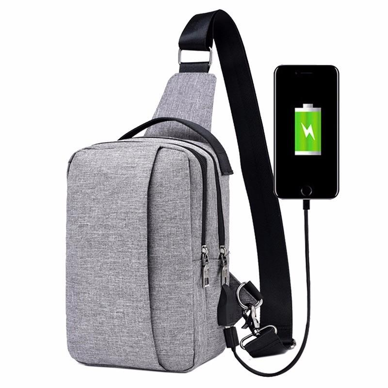 Men Nylon Sling Bag Chest Bags Back Pack Crossbody Shoulder Pouch Travel Sport Hiking Daypacks with USB Charging Port Handbag