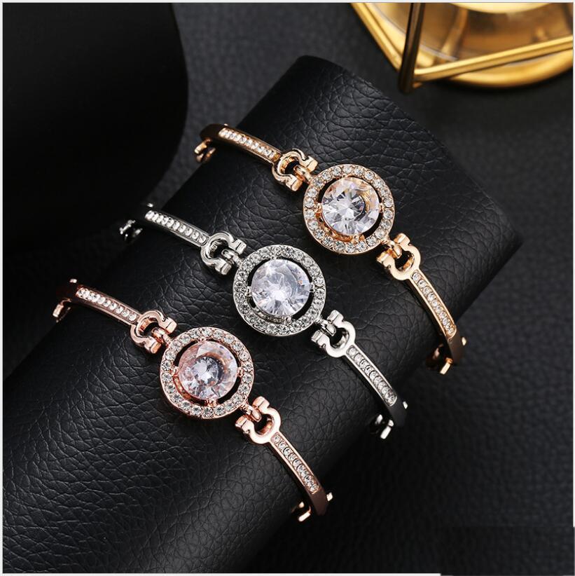 Мода Элегантные браслеты для женщин Горячие Hollow круг Циркон CZ Diamonds Браслеты Сжатый Joker ювелирные изделия оптом