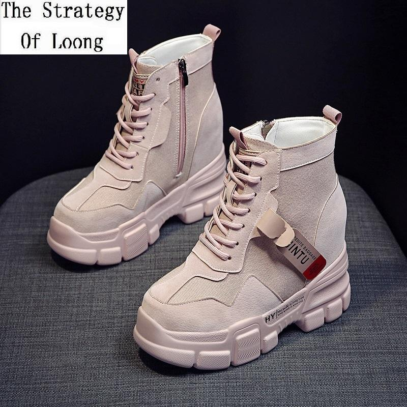 Spring Autumn Women Canvas Height Increasing Platform Super High Increasing Ankle Equestrian Boots Ladies Zipper Short Boots