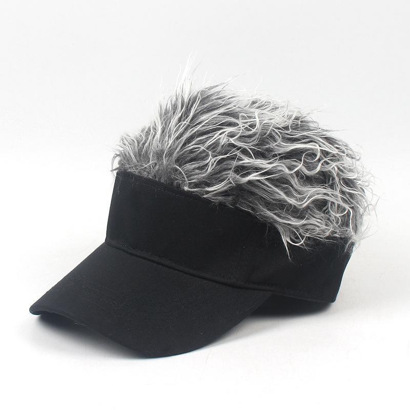 High quality men women kids novelty baseball hat adjustable fake hair hat outdoor wig sun protection cap brim adumbral hat festival gift