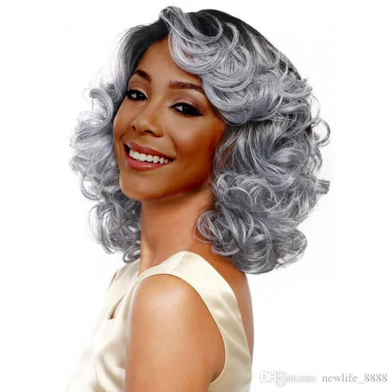 """Women Fashion Mixed Color Curly Grey Synthetic Full Wig with Dark Roots 18"""" Premium Replacement Hair Heat Resistant Fiber Daily Party Wigs"""