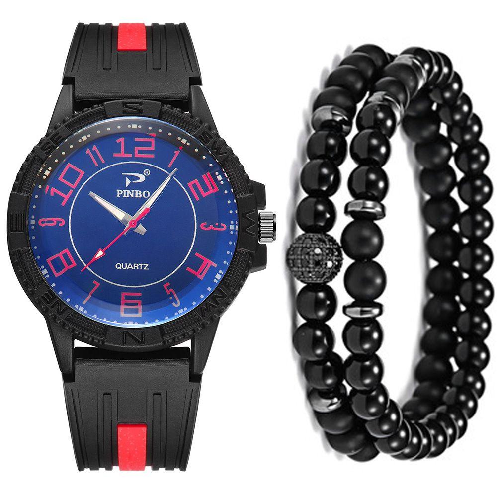 Man Concise Will Clock Dial Silica Gel Quartz Wrist Watch + Bracelet Suit ( 3pcs / Set ) Men Watch