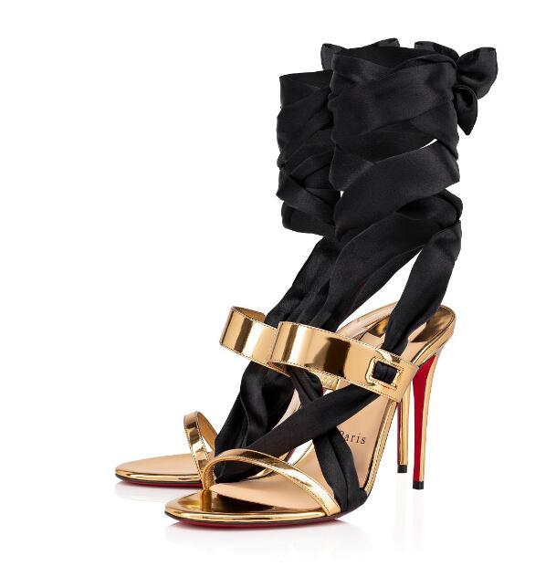 Sommer Herrliche Damen Abend Sandale aus schwarzem Satin Krepp gehockt vertiginous100 mm Fersen Sandale Gold Leder-Schuh-Partei-Kleid-Hochzeit