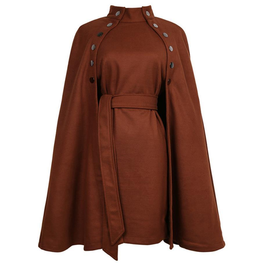 Ceket Kadınlar Cape Cloak kruvaze standı yaka yün ceket karışımları