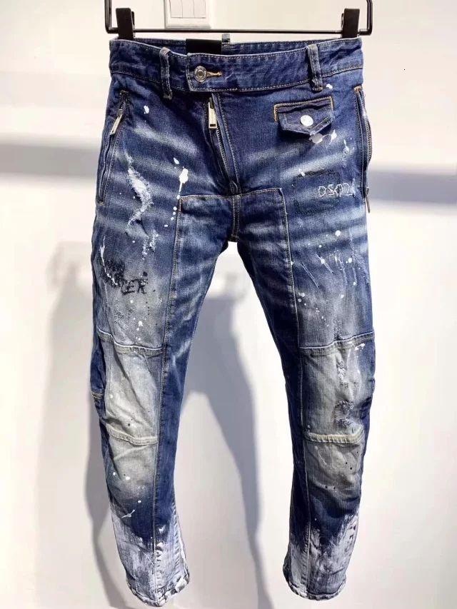 Новый эксклюзивный D2019 итальянский мода стрейч тонкий патч ремонт точки высокого класса красивый мужской джинсы A23088