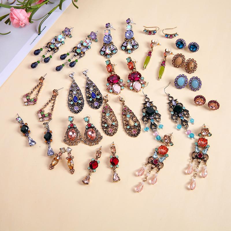 Gioielli Pendenti Orecchini per le donne Moda cristallo della resina di goccia di colore dell'arcobaleno orecchini di goccia Collezione Oro Antico Colore all'ingrosso Fr