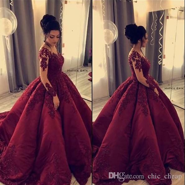Borgonha lace frisado árabe 2019 vestidos de noite mangas compridas bola vestido de cetim vestidos de baile vintage elegante festa formal vestidos de dama de honra