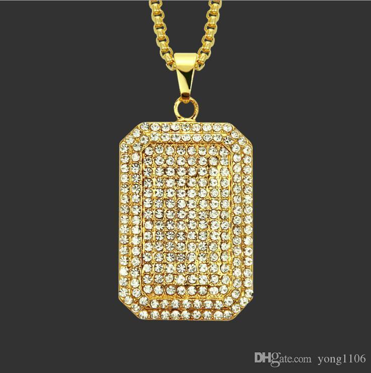La última explosivo hip-hop de diamantes con incrustaciones collar de la marca militar, Europa y América personalidad tendencia de la moda colgante marca militar