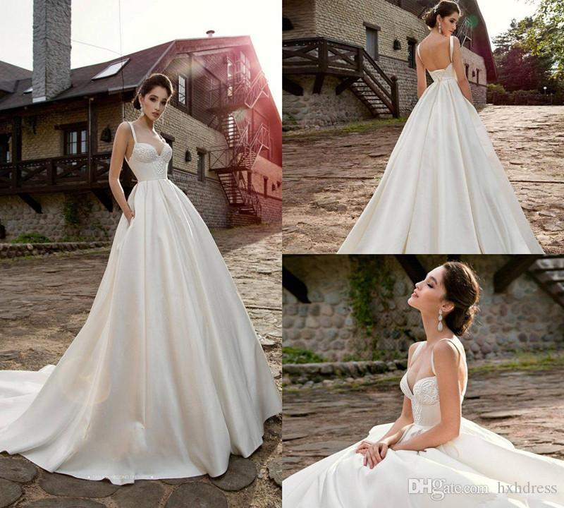 A Line Satin Beach Wedding Dresses Spaghetti Sweep Train Backless Lace Appliques Simple Country Bridal Gowns Custom Made Wedding Dresss 4299