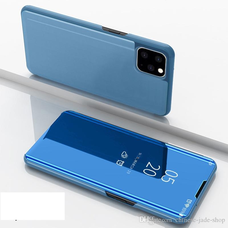 거울 도금보기 창 케이스는 플라스틱 쉘 커버를 들어 아이폰 11 11 PRO MAX XR XS XS MAX 6 7 8 PLUS의 120pcs / 많은 플립 가죽 스탠드