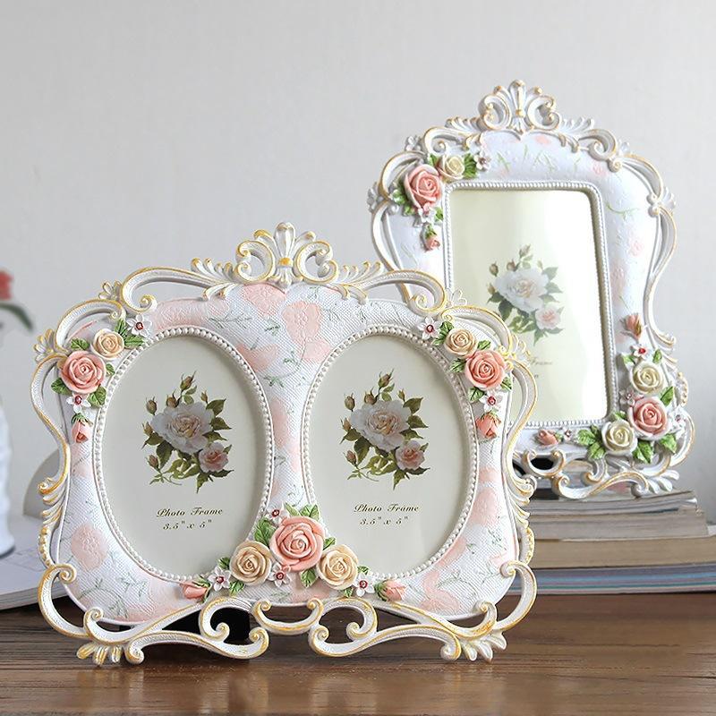 5inch Cornice per la sposa tavolino della decorazione resina Photo Frame Vintage Pittura Art White 6inch Cornici regalo creativo