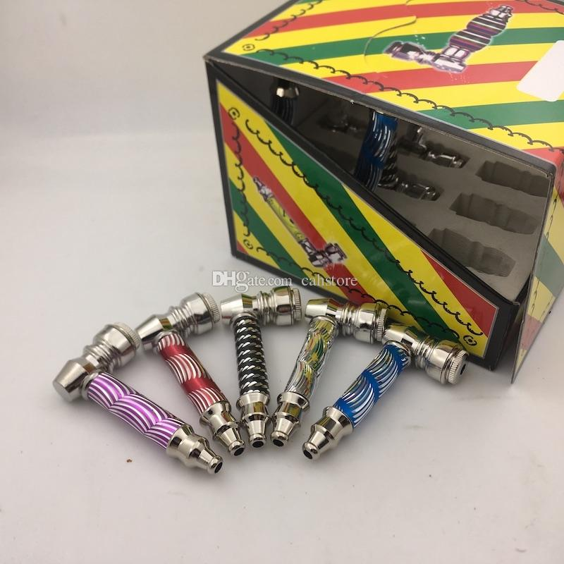 цветастая protable миниая труба руки металла для курить сухую трубу табака сигареты травы с цветастым пакетом