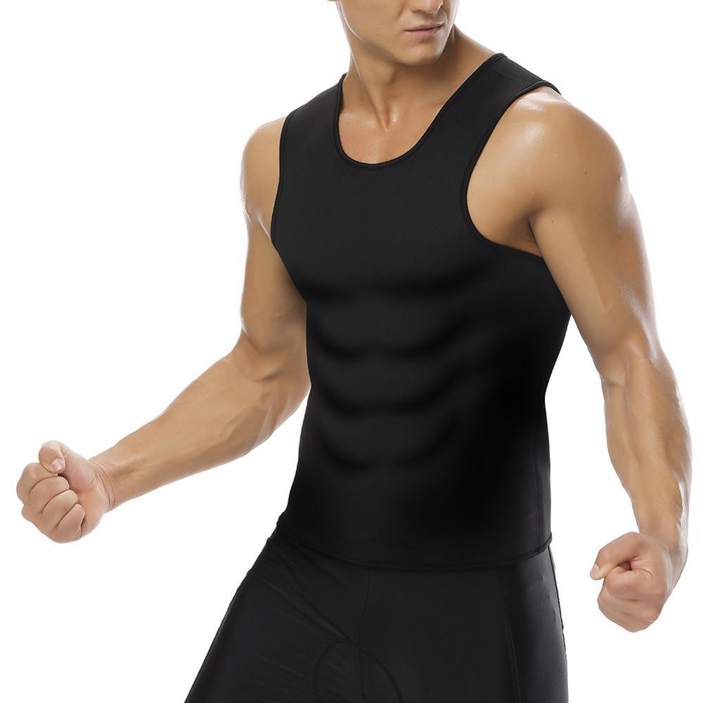 Herren Taillentrimmer Weste Body Shaper Shirts Atmungsaktive Muscle Tanks Herren Sport Sweatshirts Neopren Korsetts B180030BK01