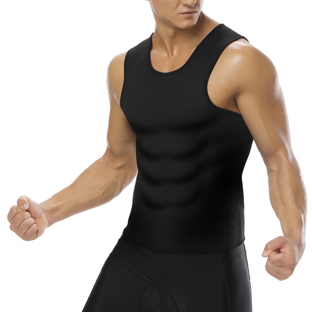 Taille hommes coupe gilet Body Shaper chemises respirant réservoir de muscle Sweats de sport pour hommes Corsets en néoprène B180030BK01