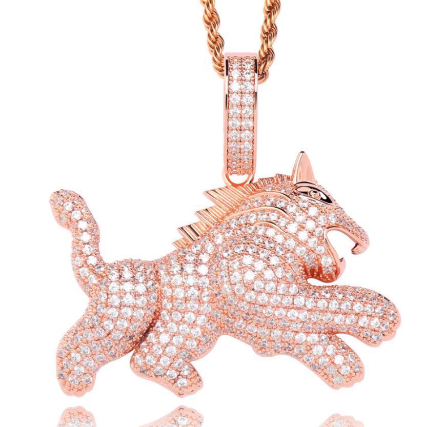 hip hop Pouco lobo Pingente de colar de cão para homens liga de ouro strass luxo cadeia cubana moda jóias