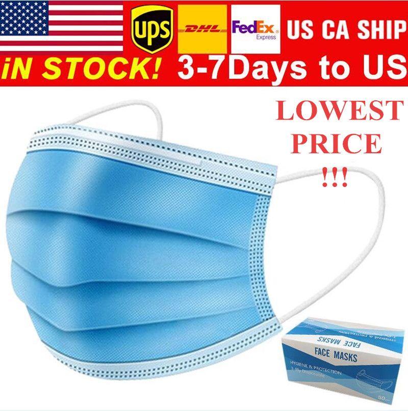Bajo Precio de 3-7 días para Máscaras de EE.UU. desechables cara con elástico del oído Loop 3 capas transpirable para el bloqueo de la máscara de polvo del aire contra la contaminación