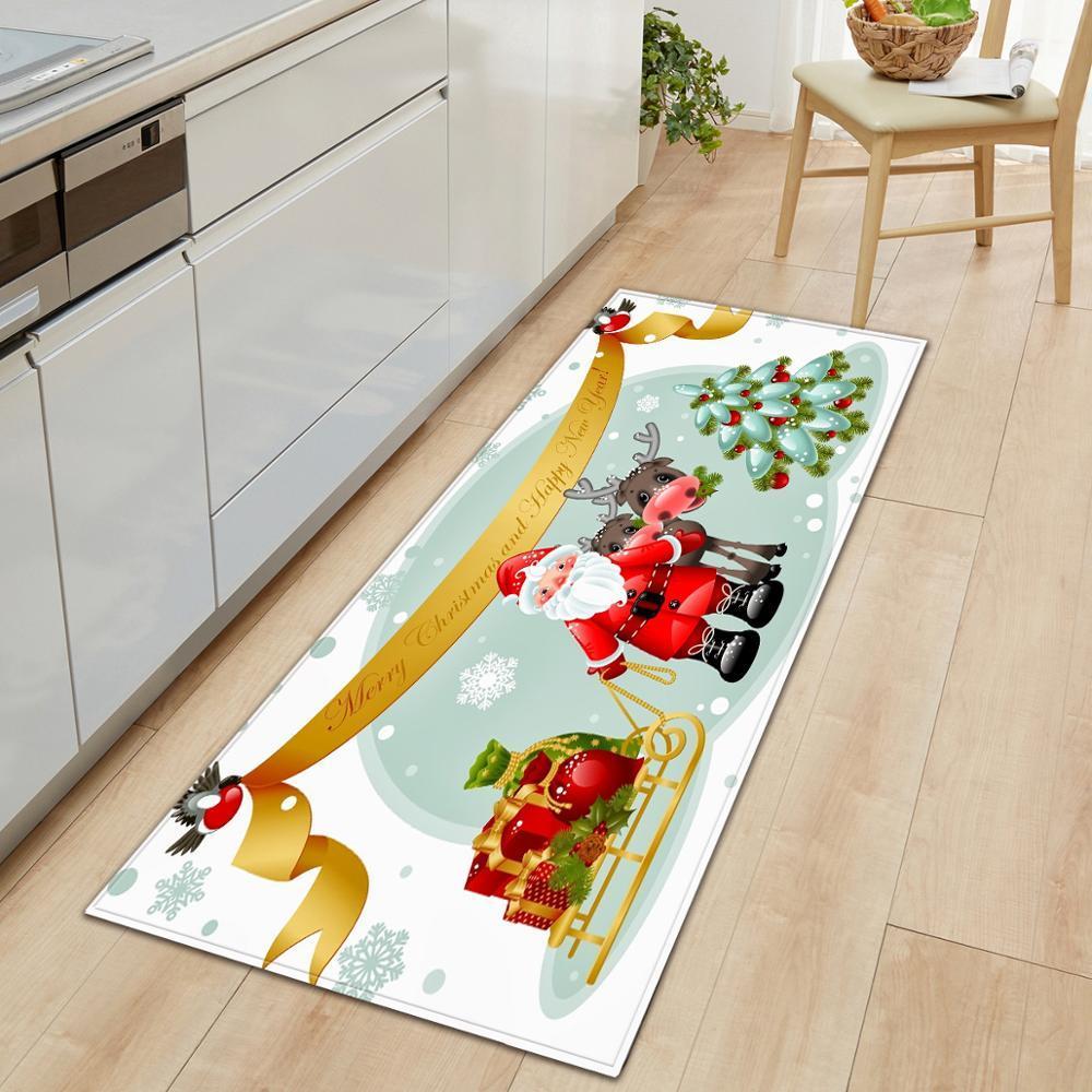 ترحيب الإبداعي ممسحة عيد ميلاد سعيد سانتا كلوز طباعة مكافحة زلة المطبخ السجاد غرفة المعيشة منطقة البساط ديكور المنزل هدية