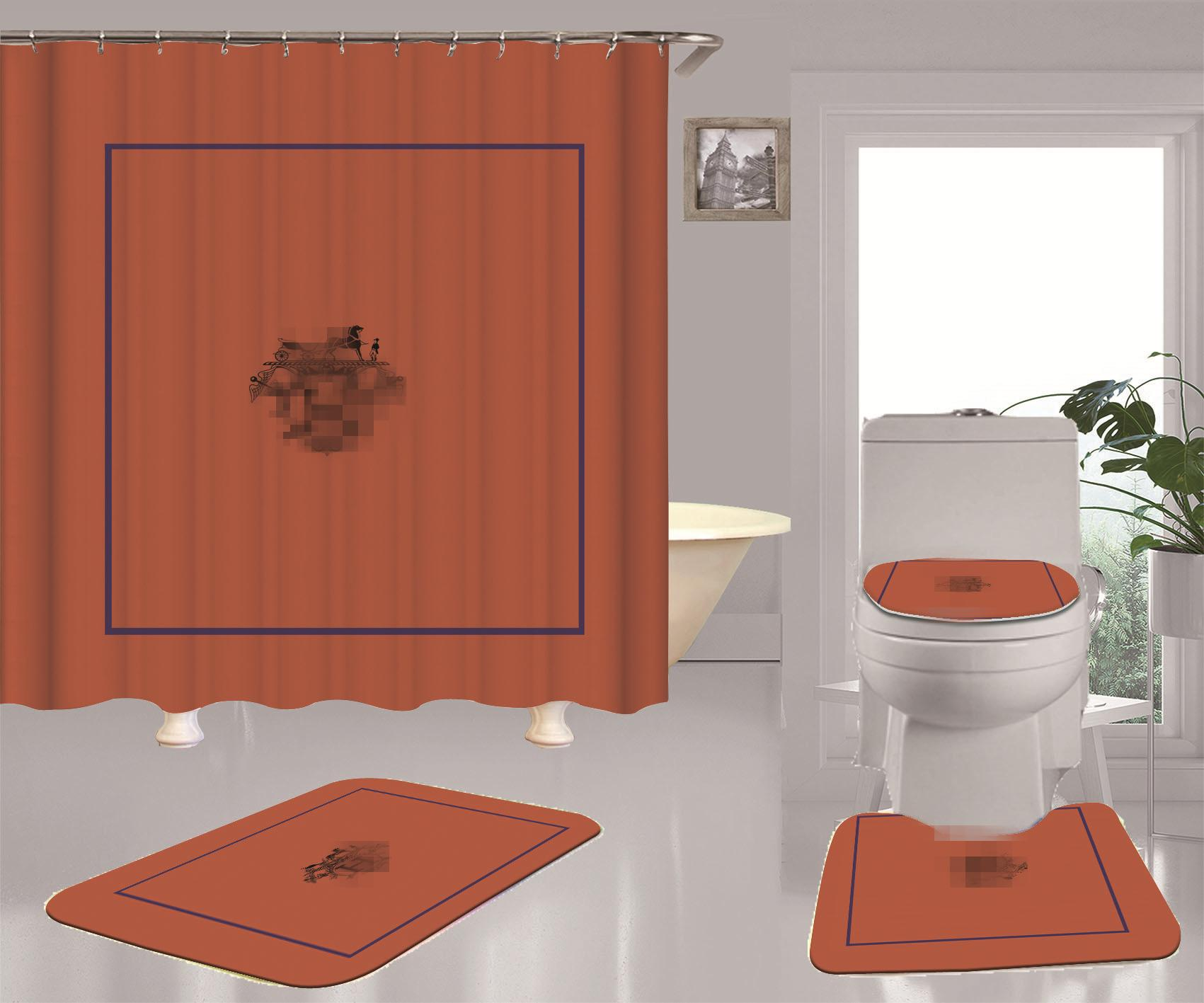 الأزياء الشبكة الحمام الستار أقمشة مطبوعة لينة للماء دش ستائر Mildewproof مع خطاف الجديدة الكاكي مجموعة مقعد المرحاض