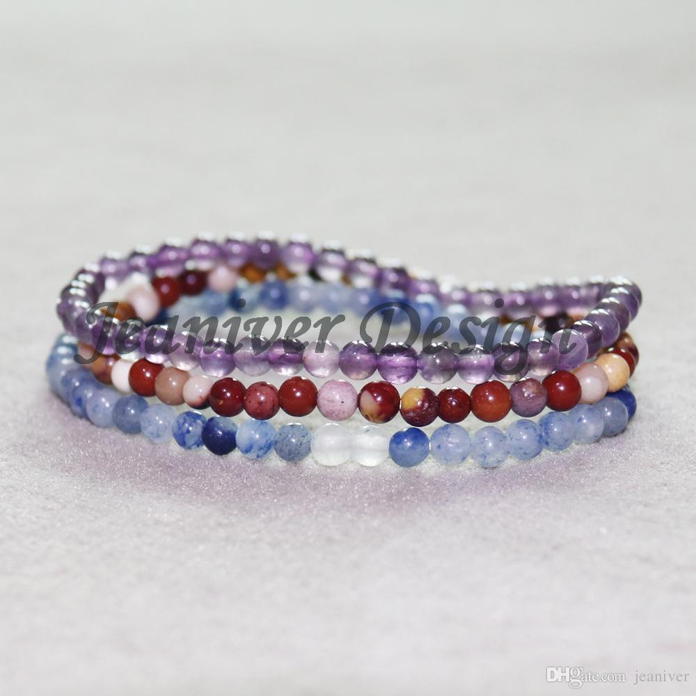 Jeaniver 2019 Blue Aventurine Amethysts Bracelet Mookaite Jaspers Bracelet Mini Gem Stone Energy Bracelets