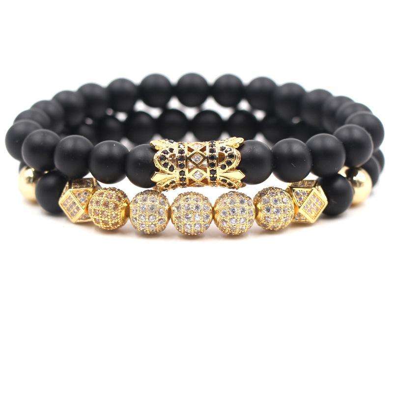 2pc/set 8mm Cubic Zirconia Bracelet Luxury Designer Jewelry Black Frosted Stone Turquoise Women Bracelects Men Buddha Beads Bracelet Gift