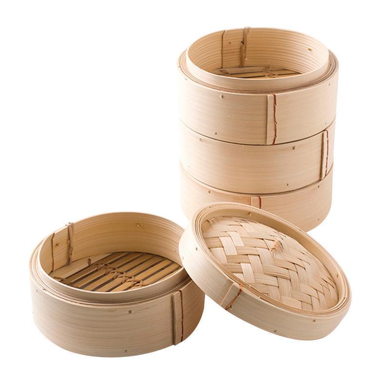 Китайский Bamboo Steamer пропаренного Булочки Дим Райс Главная Кухня Taro Пельмени Пароход стойки Steaming Tray Посуда с крышкой