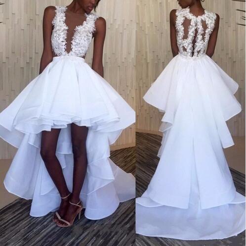 Sexy Alta Baixa Vestidos de Festa de Casamento de Cristal Sheer Neck Applique Lace Babados Organza Frente Longa Voltar vestido de Noiva Vestidos de Noiva Novo