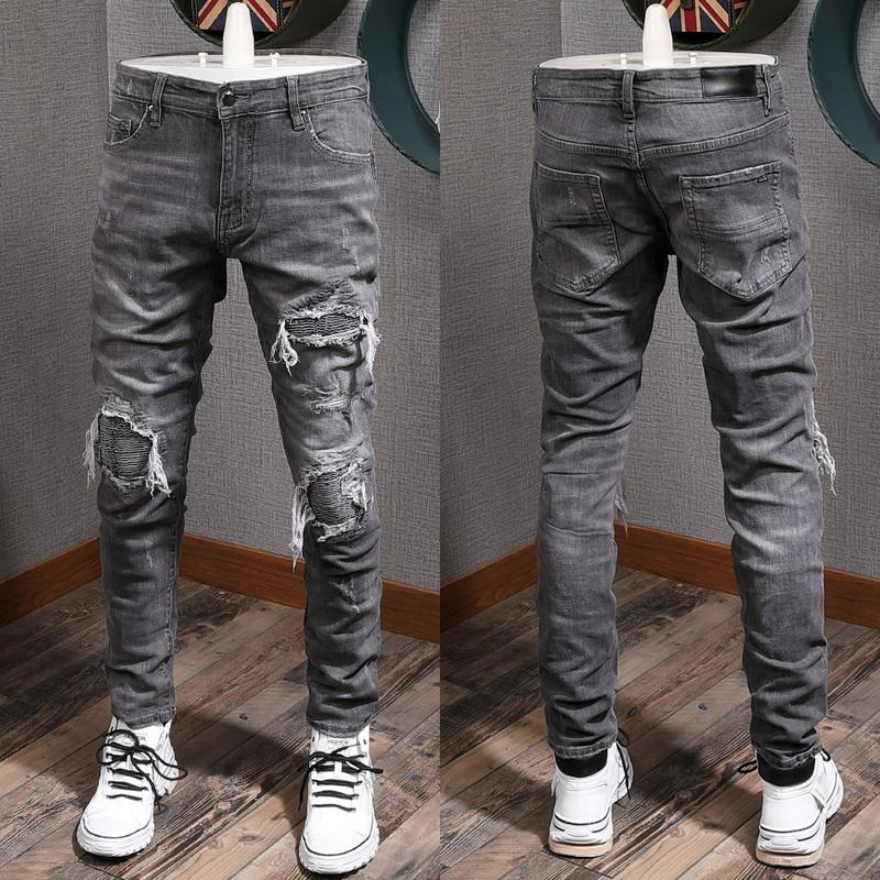 Quality Long Patchwork Patch Denim Trousers Man Fashion Slim Straight Jeans Males Zip Close Stitching Details