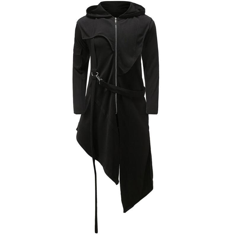 Sonbahar Kod Uzun Rüzgarlık Ceket Erkekler'S Düzensiz Fermuar Kapşonlu Coat Erkekler'S Hafif Ceket Katlanabilir Açık Kapşonlu Uzun Yeni